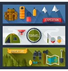 Tourist banners with camping equipment in flat vector image vector image
