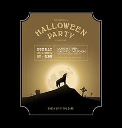 Vintage halloween invitation with howling werewolf vector