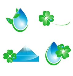 Water and green leaf ecology set vector image vector image