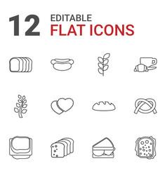 12 bread icons vector image
