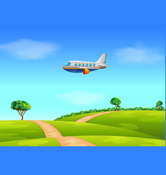 a passenger plane flying over field vector image