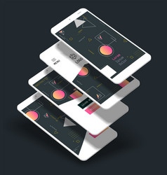 abstract geometric ui screens 3d mockups trendy vector image