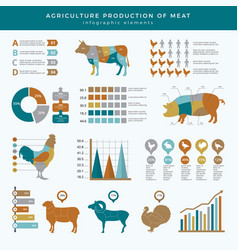 Agriculture farming infographic food animals farm vector