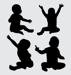 Baby action silhouette vector