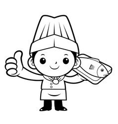 Black and white happy chef mascot a fish and vector