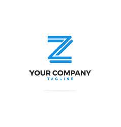 blue logo letter z lines vector image