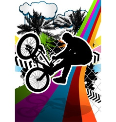 bmx biker summer background vector image