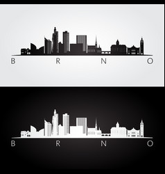 brno skyline and landmarks silhouette vector image