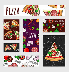 cartoon pizza banners template fast food label vector image
