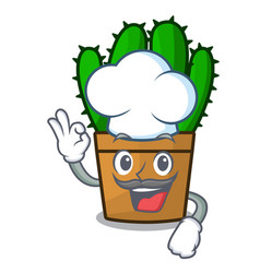 Chef character spurge cactus home decor indoor vector