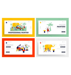 children face painting landing page template set vector image
