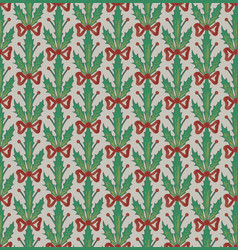 Christmas pattern with festoons of holly leaves vector