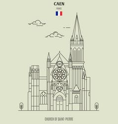 church of saint-pierre in caen vector image