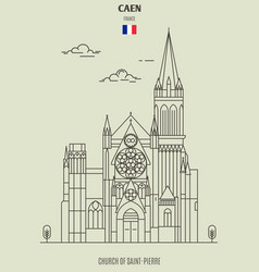 church saint-pierre in caen vector image