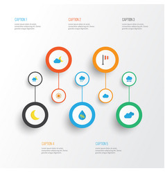 Climate flat icons set collection of moon frosty vector