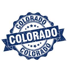 Colorado round ribbon seal vector