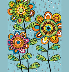 Colorful abstract folk art flowers and rain vector