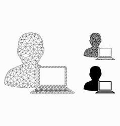 Computer programmer mesh wire frame model vector
