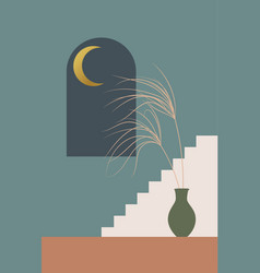 Contemporary aesthetic background with arch night vector