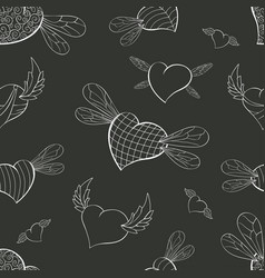 Contour winged valentines on a graphite background vector