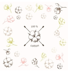 Cotton flower with crossed cotton swabs vector