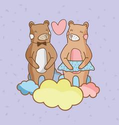 cute bears in love vector image