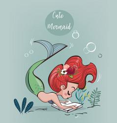 Cute cartoon mermaid vector