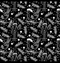 doodle linear christmas seamless pattern in vector image