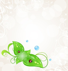 Eco friendly background with green leaves and vector image