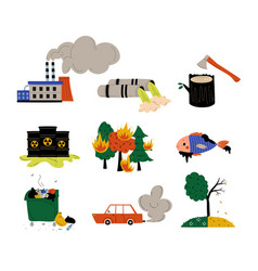 ecological problems set environmental pollution vector image