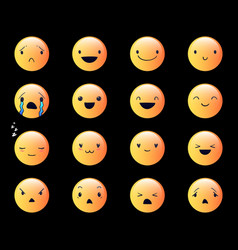 Emoticons round yellow 3 vector