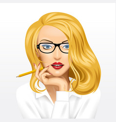 Face a pretty blonde business woman in glasses vector