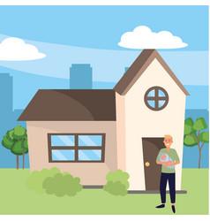 family bacare cartoon vector image