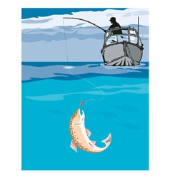 Fisherman fishing trout fish retro vector