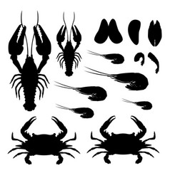 flat gradient sea food silhouette concept isoleted vector image