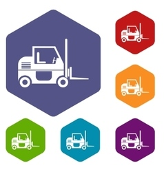 Forklift icons set vector
