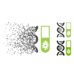 Fractured pixel halftone hitech microbiology icon vector