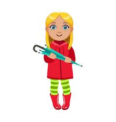 Girl in red coat with umbrella kid in autumn vector