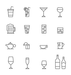 glass and bottle stroked iconsstroke path layer vector image