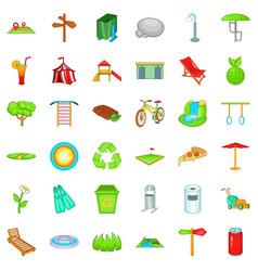 Green park icons set cartoon style vector
