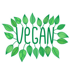 green vegan sign in with growing leaves vector image