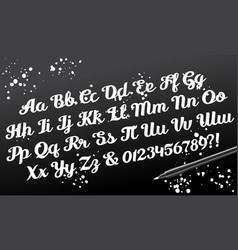 Hand drawn brushpen calligraphic alphabet vector