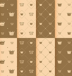 Hand drawn crown on red background seamless vector