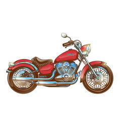 hand-drawn red vintage motorcycle classic chopper vector image vector image