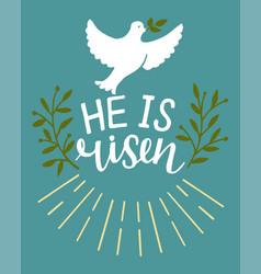 Hand lettering bible verse he is risen easter vector