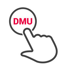 hand presses the button with text dmu vector image