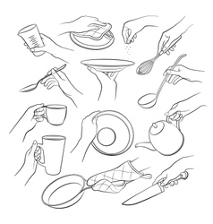 Hands holding kitchen tools vector image