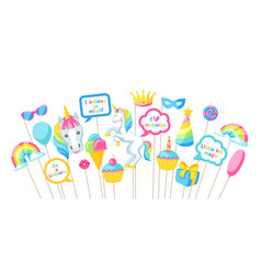 Happy birthday photo booth props fantasy items vector