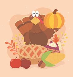 happy thanksgiving turkey cake corn apples acorn vector image