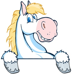 happy white and blond horse over a white sign vector image